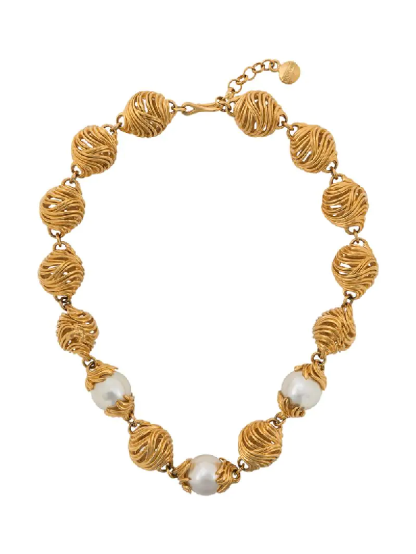 Lanvin 1980s Pearl-embellished Twisted Necklace In Gold
