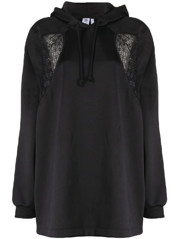 Adidas Originals Lace Panels Oversized Hoodie In Black