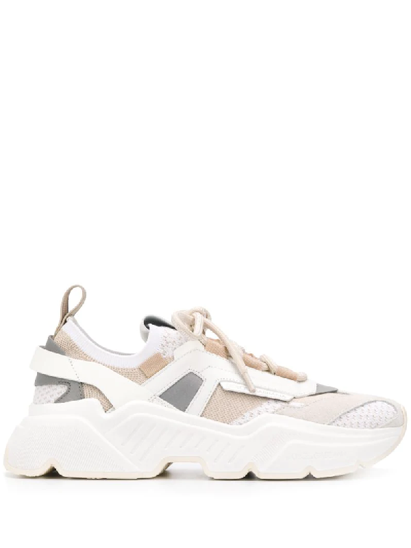 Dolce & Gabbana Dolce And Gabbana Beige Stretch Mesh Daymaster Sneakers In Neutrals