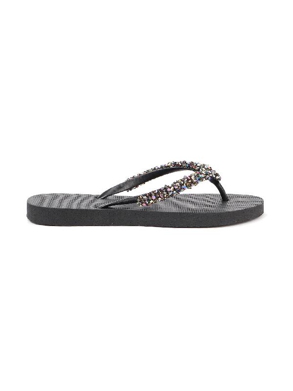 Uzurii Jewel Flip Flop In Black