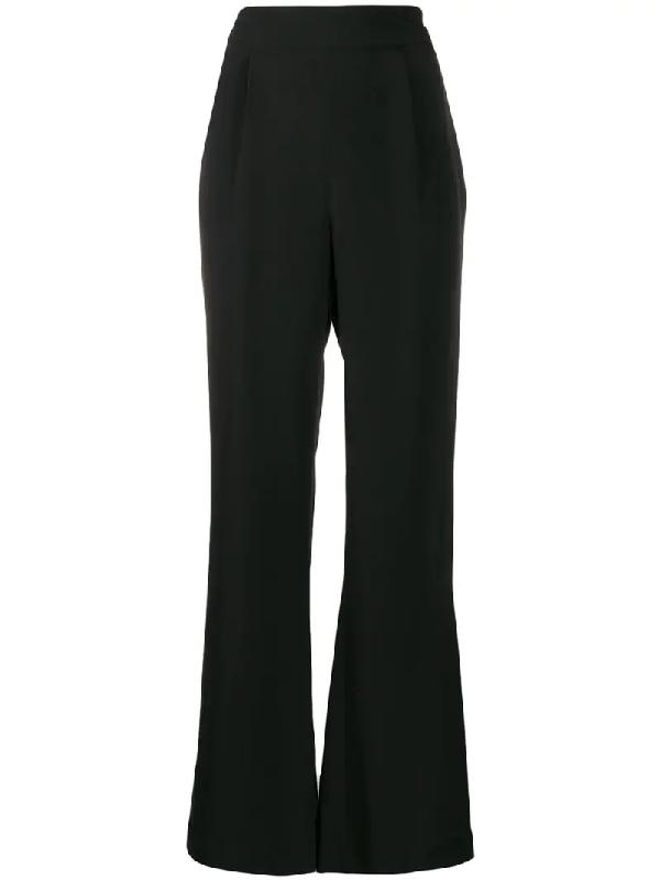 La Collection Silk Wide-leg Trousers In Black