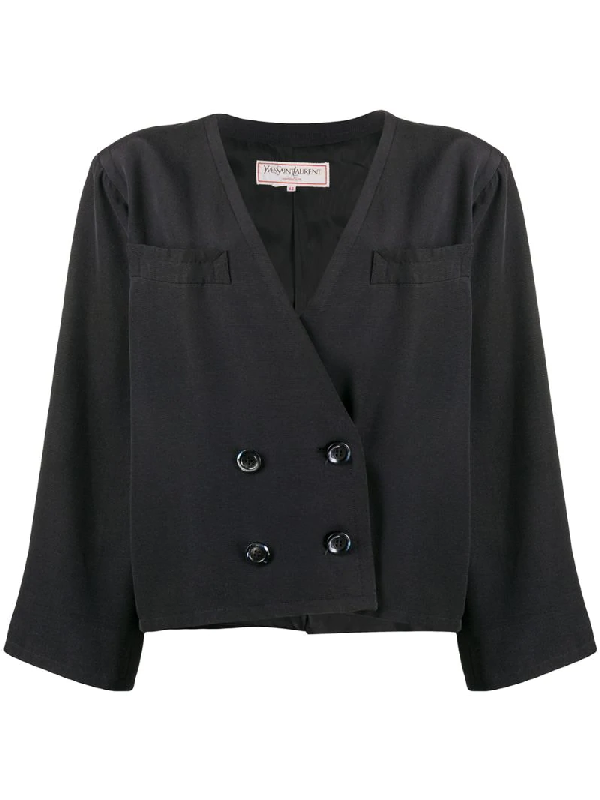 Saint Laurent Double-breasted Oversized Jacket In Black
