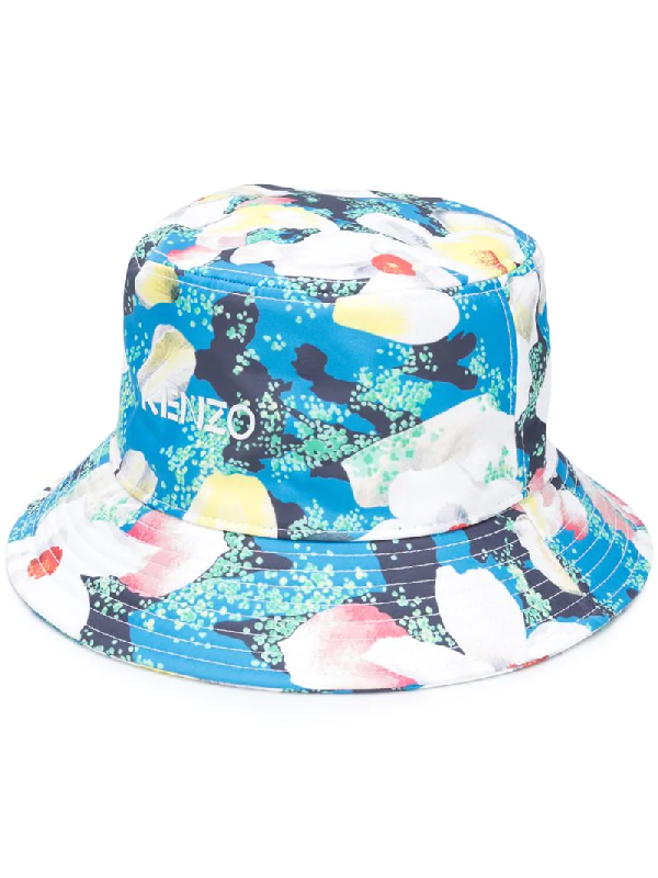 Kenzo Floral-print Bucket Hat In Blue