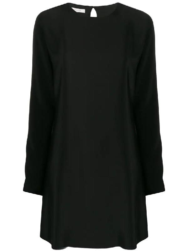 La Collection Silk Long-sleeve Shift Dress In Black