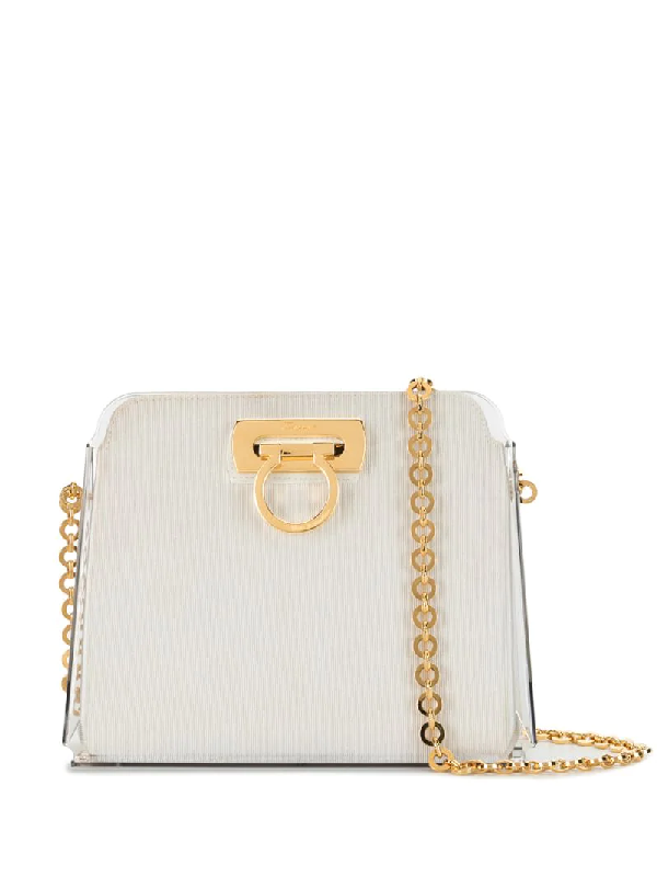 Salvatore Ferragamo Gancini Chain Shoulder Bag In White