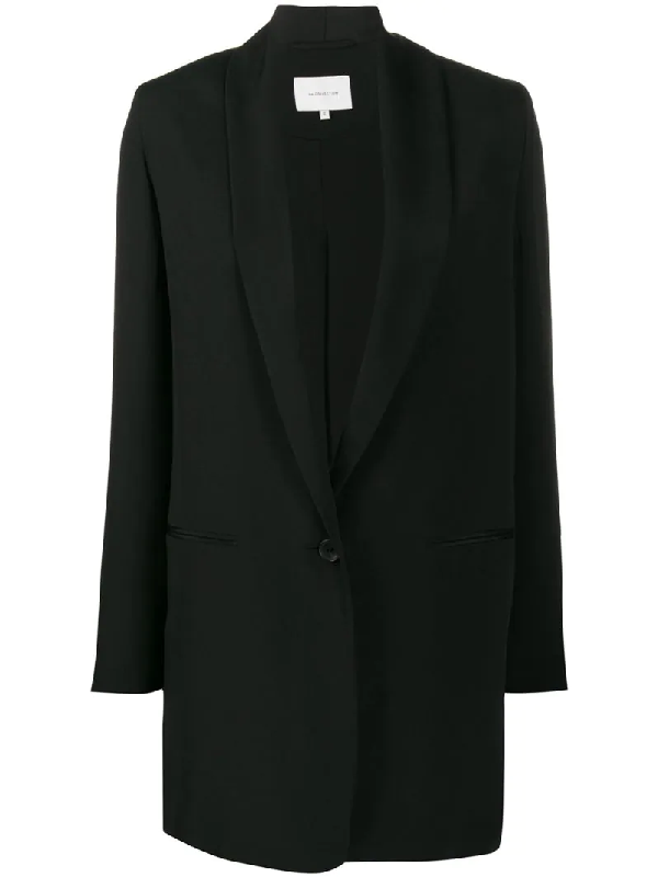 La Collection Silk Relaxed Single-breasted Blazer In Black