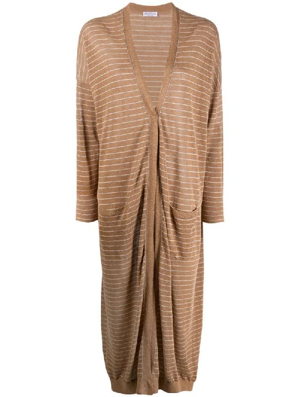 Brunello Cucinelli Long Striped Cardi-coat In Brown