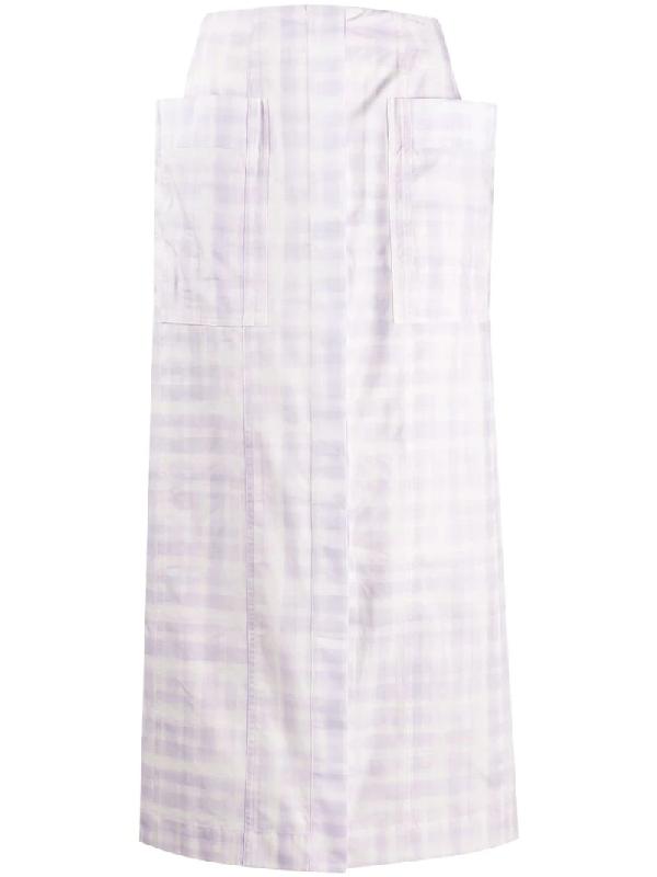 Jacquemus La Jupe Bastide Check Midi-skirt In Purple