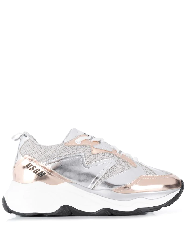 Msgm Metallic Attack Low-top Sneakers In Silver