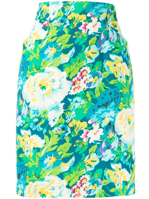 Kenzo 1980s Floral Print Skirt In Blue
