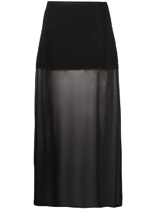 Jil Sander 1990s Semi-sheer Long Skirt In Black
