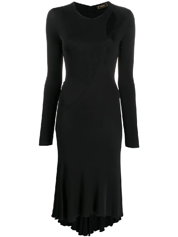 Versace 2000s Cut-out Detail Fitted Dress In Black