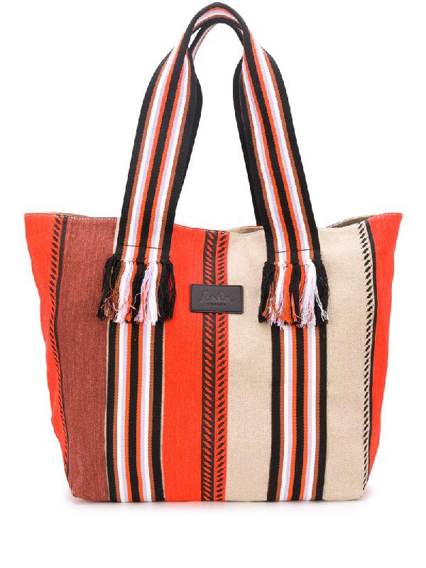 Lala Berlin Striped Pattern Tote Bag In Orange