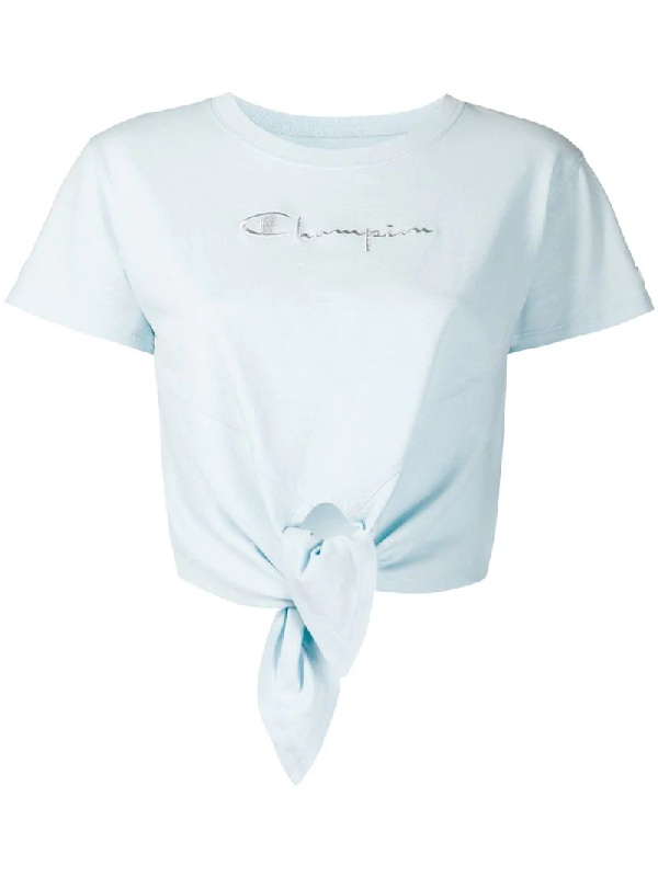 Chiara Ferragni X Champion Cropped T-shirt In Blue