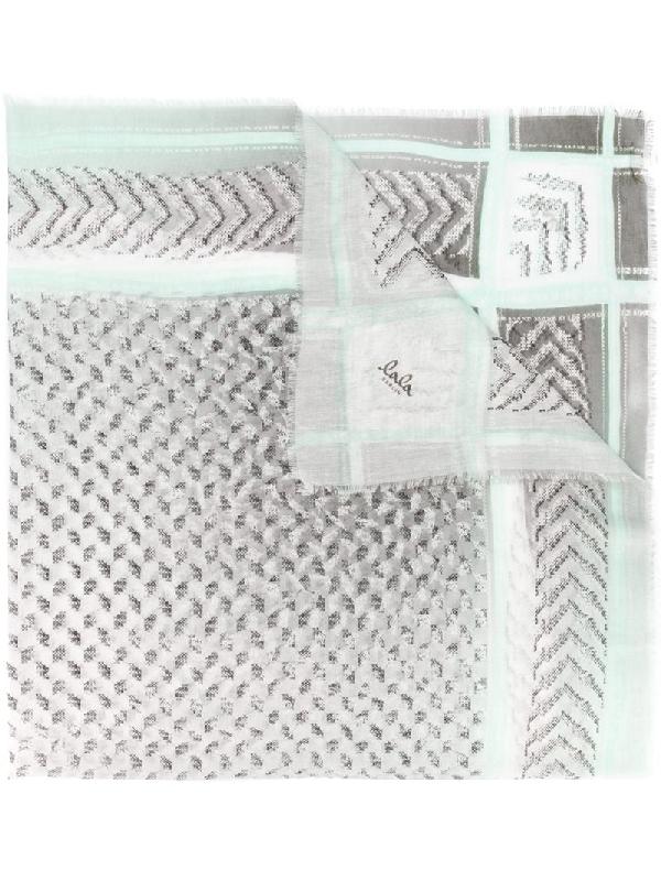 Lala Berlin Kufiya Pattern Mix Scarf In Grey