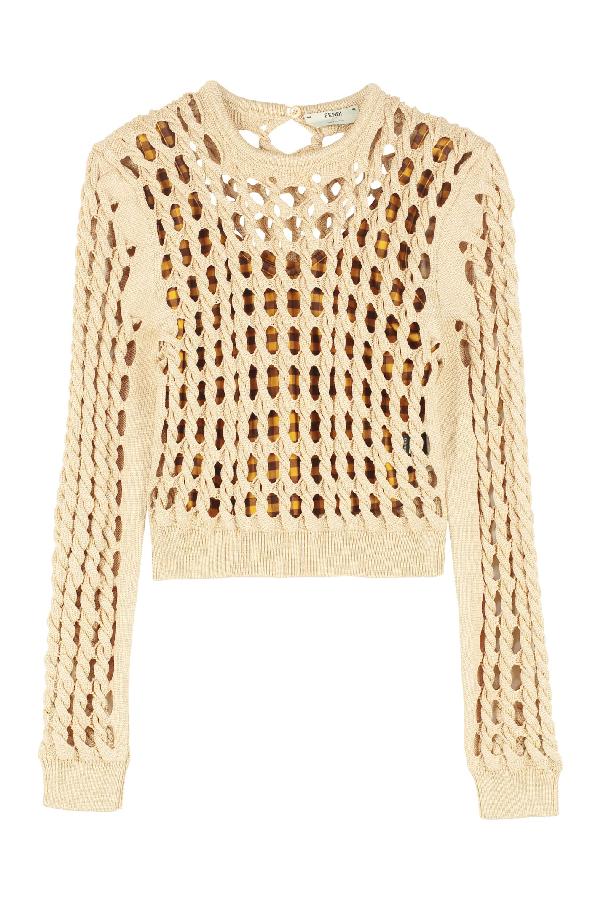 Fendi Cable Knit Pullover In Beige