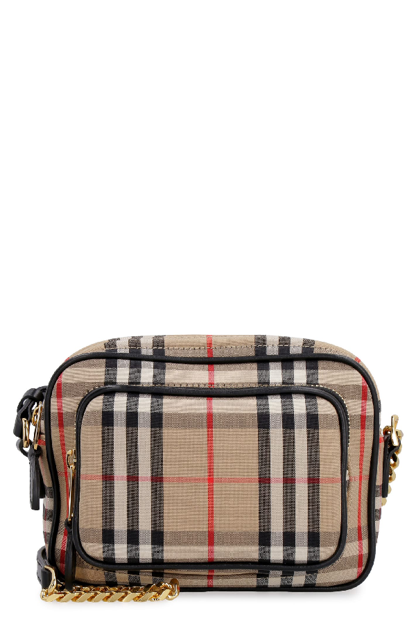 Burberry Checkered Canvas Camera Bag In Archieve Beige