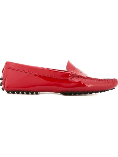 Tod's City Gommino Loafers In Patent Leather In Red
