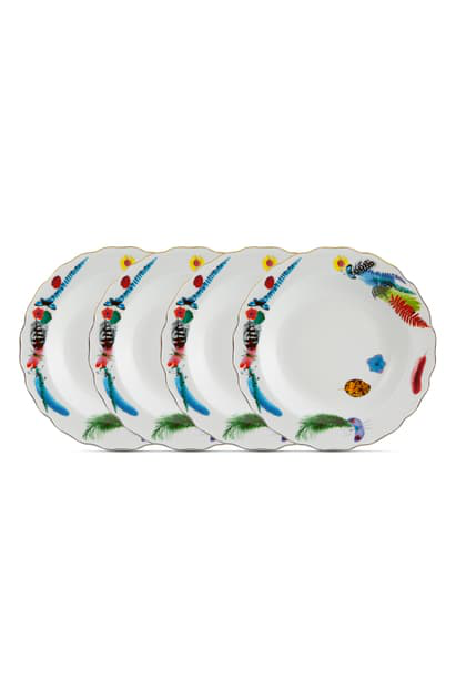 Christian Lacroix Caribe Set Of 4 Soup Plates In White