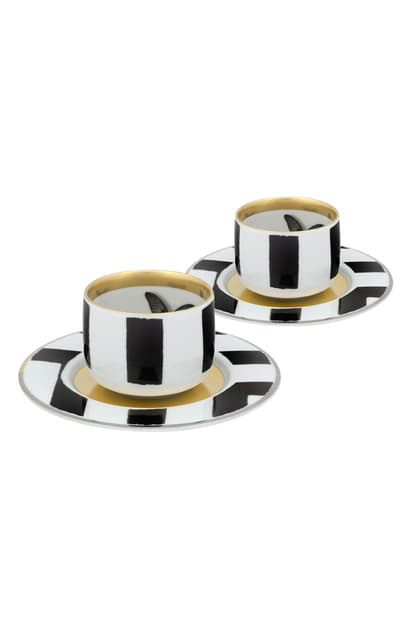 Christian Lacroix Sol Y Sombra Pair Of Demitasse Cups & Saucers In Black And White