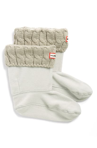 Hunter Original Short Cable Knit Cuff Welly Boot Socks In Greige