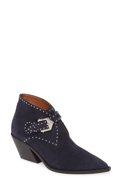 Givenchy Elegant Studs Pointy Toe Boot In Navy