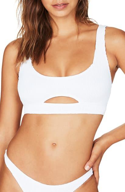 Bound By Bond-eye The Sasha Cutout Ribbed Bikini Top In Optic White