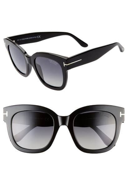 Tom Ford Beatrix 52mm Polarized Gradient Square Sunglasses In Shiny Black/ Smoke