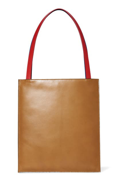 The Row Flat Leather Tote In Brown Teal - Poppy Red
