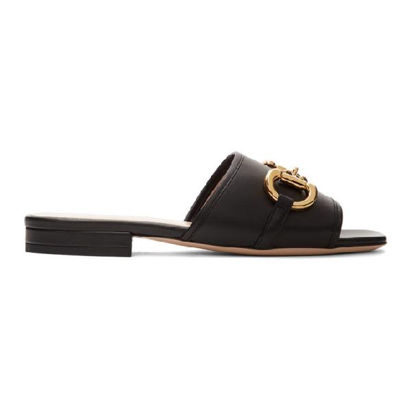 Gucci Women's Leather Slide Sandal With Horsebit In 1000 Black