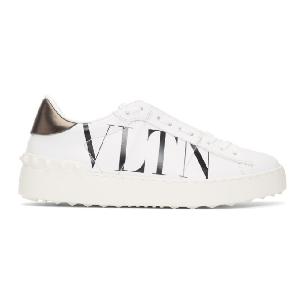 Valentino Garavani Pen White Leather Sneakers With Vltn Logo In A01 Bl/wh