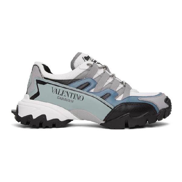 Valentino Garavani Low-top Sneakers Climbers Calfskin Logo White-combo Petrol In Lt5 Bianco/