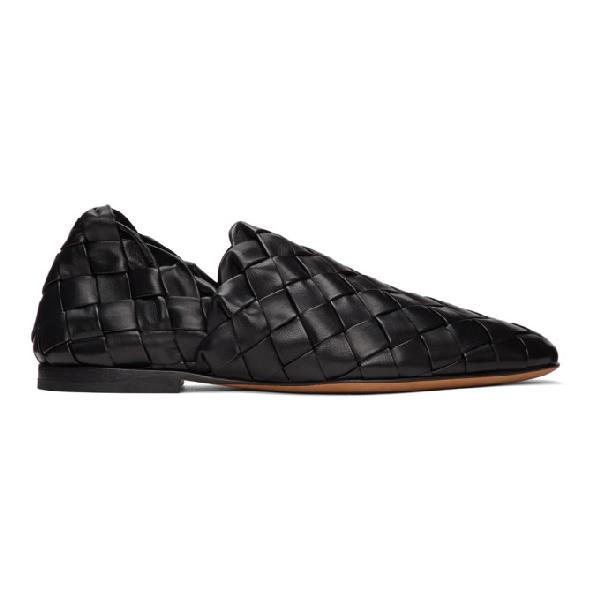 Bottega Veneta Woven-effect Slip-on Loafers In 1000 Black