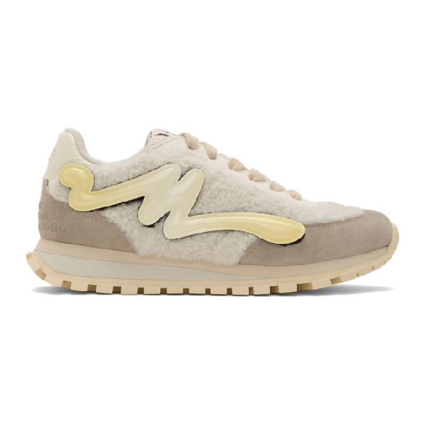 Marc Jacobs Off-white Shearling The Jogger Sneakers In 111 Ivory