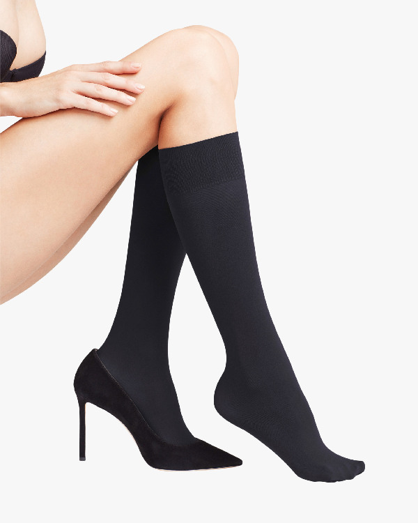 Falke Pure Matte 50 Knee-high Stockings In Black