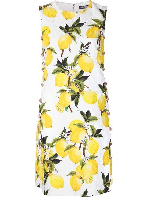 ce5233de66e Dolce   Gabbana Lemon-Print Floral-Brocade Embellished Dress In Ivory