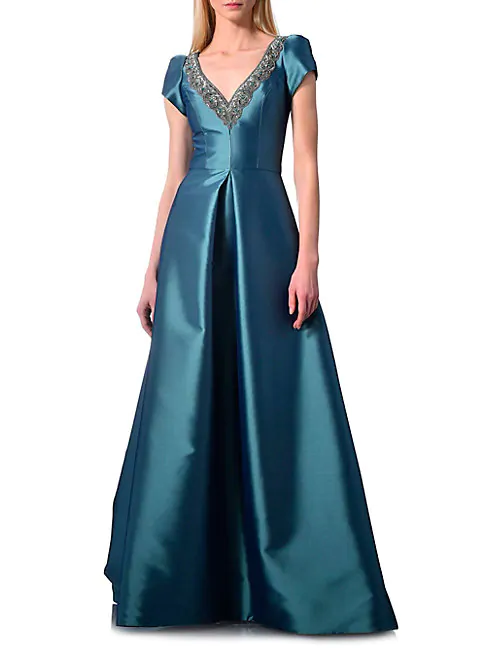 Theia Cap-sleeve Satin Ball Gown In Lake Blue