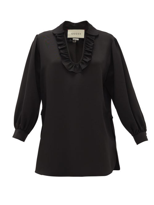 Gucci Buckle-neck Ruffled Faille Blouse In Black