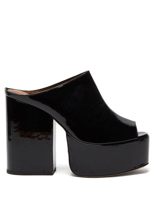 Osman Brigitte Patent-leather Platform Mules In Black