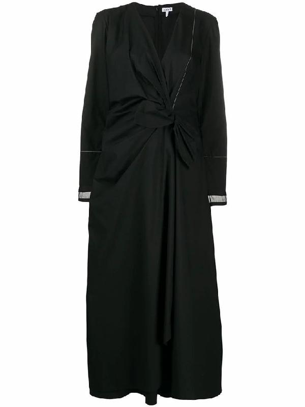 Loewe Black Wrap-effect Cotton Dress