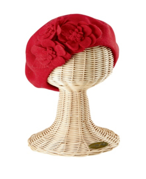 San Diego Hat Company Wool Beret With Flowers In Red