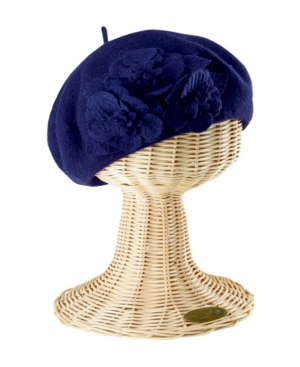 San Diego Hat Company Wool Beret With Flowers In Navy