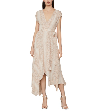 Bcbgmaxazria Snake-embossed Wrap Dress In Bare Pink - Python