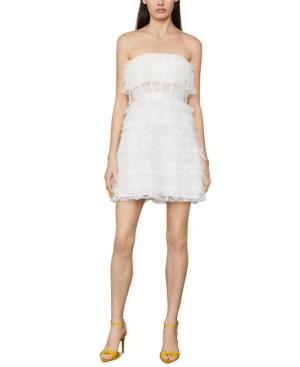 Bcbgmaxazria Strapless Ruffled Tulle Mini Dress In Off White