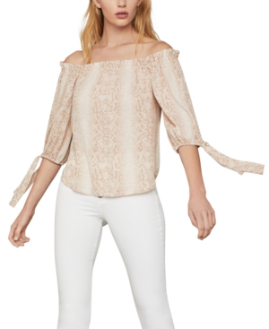 Bcbgmaxazria Printed Off-the-shoulder Top In Bare Pink - Python
