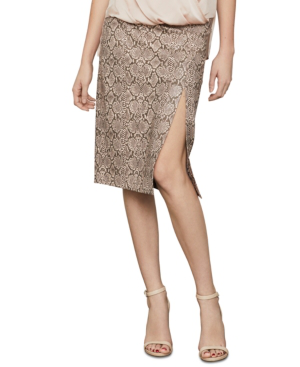 Bcbgmaxazria Snake-embossed Faux-leather Midi Skirt In Bare Pink Combo