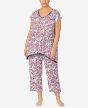 Ellen Tracy Plus Size Pajama Top, Online Only In Tan/mult
