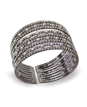 Statement Imitation Pearl And Stone Cuff Bracelet In Pewter