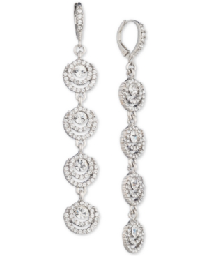 Givenchy Silver-tone Crystal Halo Linear Drop Earrings