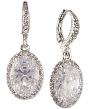 Givenchy Silver-tone Cubic Zirconia Oval Drop Earrings